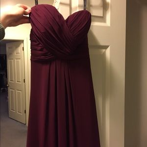 Long Burgundy Strapless Prom Dress